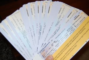 A handful of plane tickets